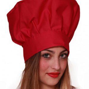 Cappello chef rosso unisex regolabile con velcro 100% cotone.