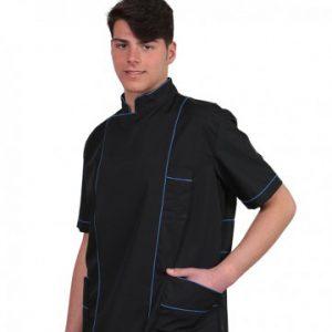 Casacca beauty uomo nero e blu con profilo TCD. Tessuto: 65% poliestere - 35% cotone.