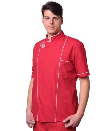 casacca pizzaiolo rossa profilo bianco tcd