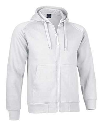 Felpa bianca con zip e cappuccio realizzato in 65% cotone e 35% poliestere.
