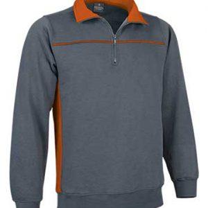 felpa bicolore grigio arancio