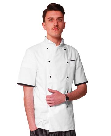 giacca bianca mezza manica profilo nero
