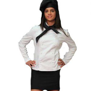 Giacca cuoco donna manica lunga TCD 100% cotone modello avvitato, con bottoncini classici per la chiusura, sexy e pratica allo stesso tempo.
