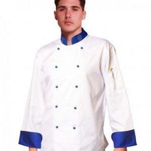 Giacca cuoco modello Europa TCD unisex e con ricami sul colletto e bottoni funghetto a estrazione rapida.