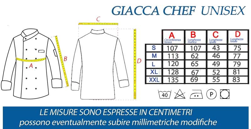 giacca cuoco unisex tcd schema misure