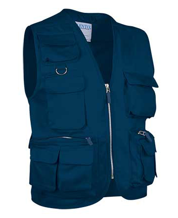 gilet multitasche blu in cotone