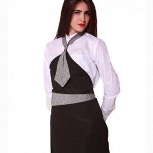 Grembiule donna con cravattino 100% poliestere, taglia unica, colore nero.