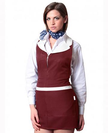 grembiule donna con zip bordeaux panna