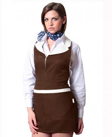 grembiule donna con zip marrone panna