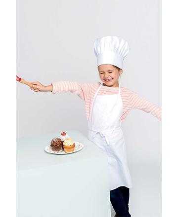 Kit cuoco bimbo composto da cappello e grembiule colore bianco.