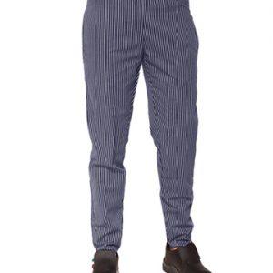 pantalone cuoco elastico gessato blu