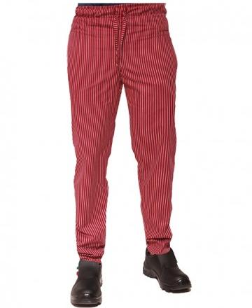 pantalone cuoco elastico gessato rosso