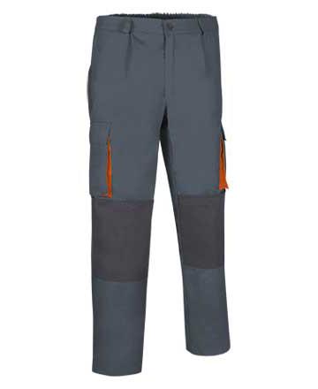 pantaloni multitasche bicolore grigio arancio