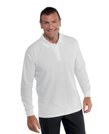 Polo manica lunga unisex bianca Isacco 100% cotone. Peso tessuto: 200 gr/m². Ideale per settore alberghiero, estetico e cucina. Divisa da lavoro per bar, pub, ristoranti, alimentari e catering.