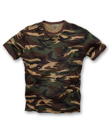 T-shirt woodland 100% cotone girocollo, tessuto stampato mimetico
