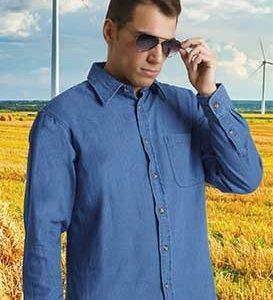 Camicia jeans 100% cotone. Tessuto denim prelavato 200 gr/m2. Button down. Con taschino lato sinistro. Manica lunga, chiusura con bottoni. Taglie disponibili dalla s alla 3xl