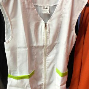 Casacca estetista smanicata con zip bianco verde